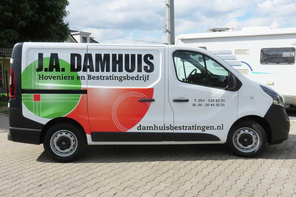 Bedrijfsbus reclame - J.A. Damhuis Hoveniers en Bestratingsbedrijf