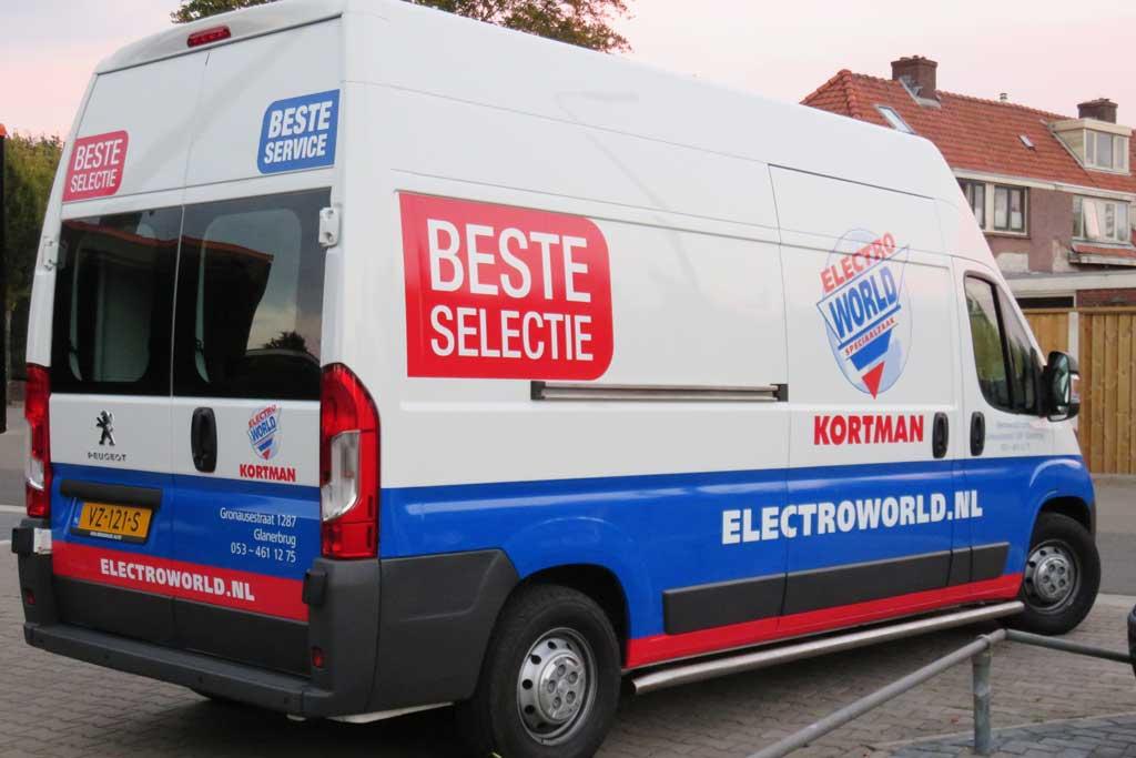 Bedrijfsbus reclame - Electro World Kortman
