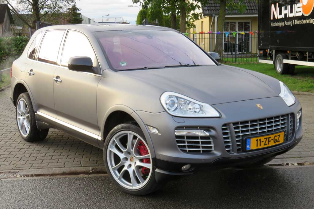 Car wrapping - Mat grijze Porsche