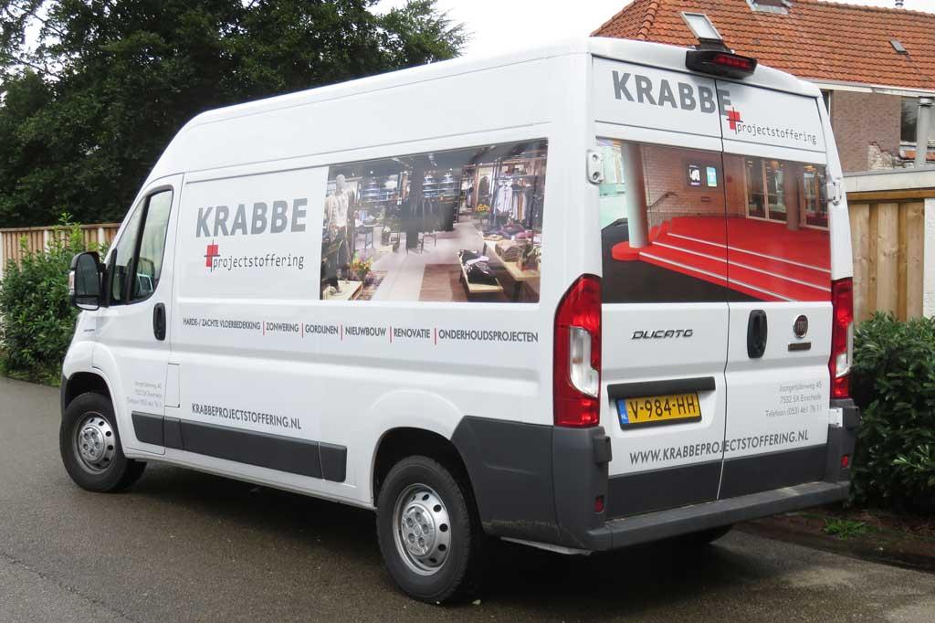 Bedrijfsbus reclame - Krabbe Projectstoffering